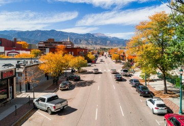 aerial view of Bijou street looking west at Pikes Peak