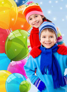 photo illustration of two young skaters at birthday party