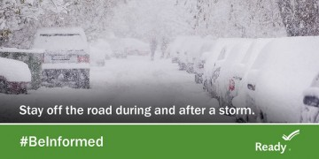 "graphic says ""stay off the road during and after a storm"""