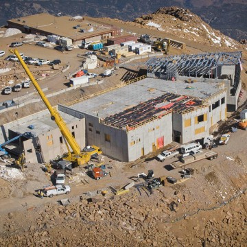 aerial view of construction of new summit house