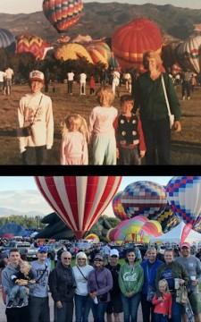 two photos. on the top an old color photo of adult and four kids standing in front of hot air balloons. Second photo is recent. Children are grown up and have their own children posing with multi gen family in front of hot air balloons behind.