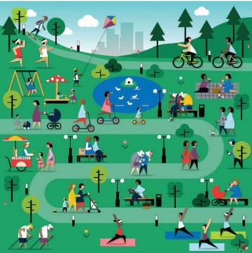 a drawing of a winding path through a park with people doing different activities like biking, yoga, picnicing etc.