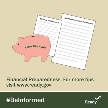 piggy bank and financial preparedness planning documents