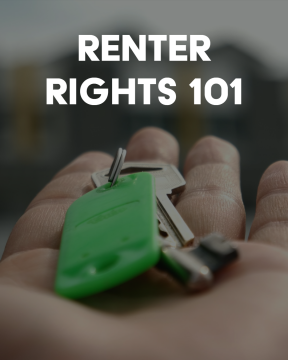 """hand holding keys out for someone. text says """"renter rights 1010"""""""