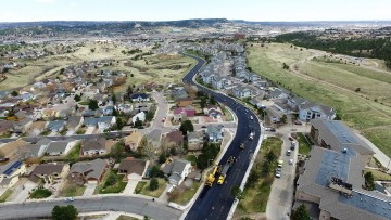 Aerial view of a newly paved road