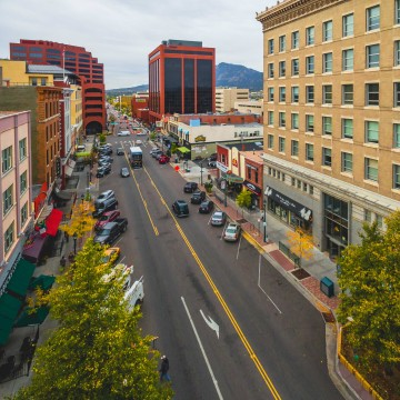 aeiral view of Tejon Street