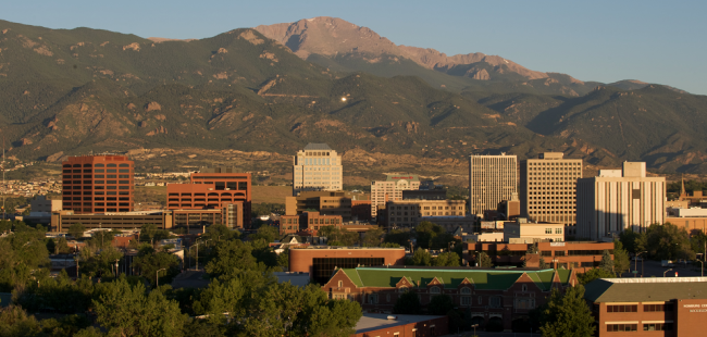 City with view of Pikes Peak