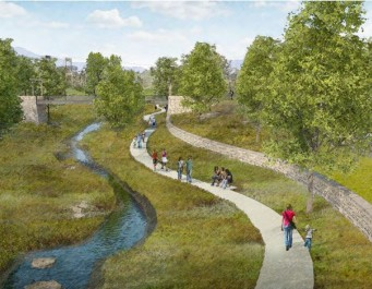 Rendering of a creek and trail