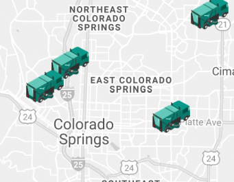 Map showing location of four streetsweepers