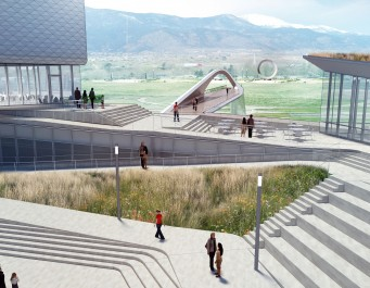 rendering of Olympic Museum showing walkway with pedestrian bridge in distance