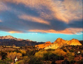 Beautiful sunset photo of Pikes Peak and Garden of the Gods
